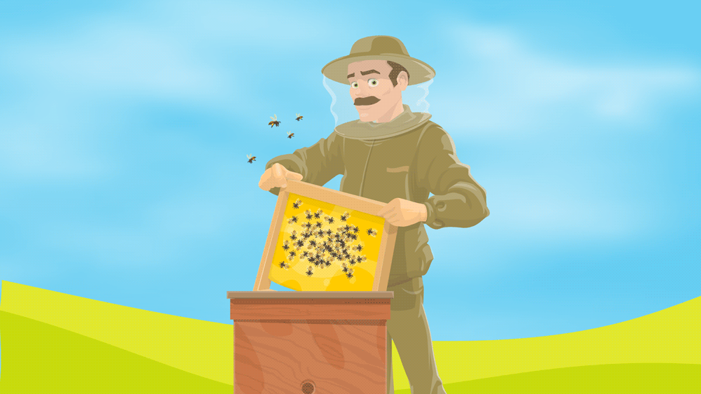 Illustration of a beekeeper in a protective suit handling his bee colony.
