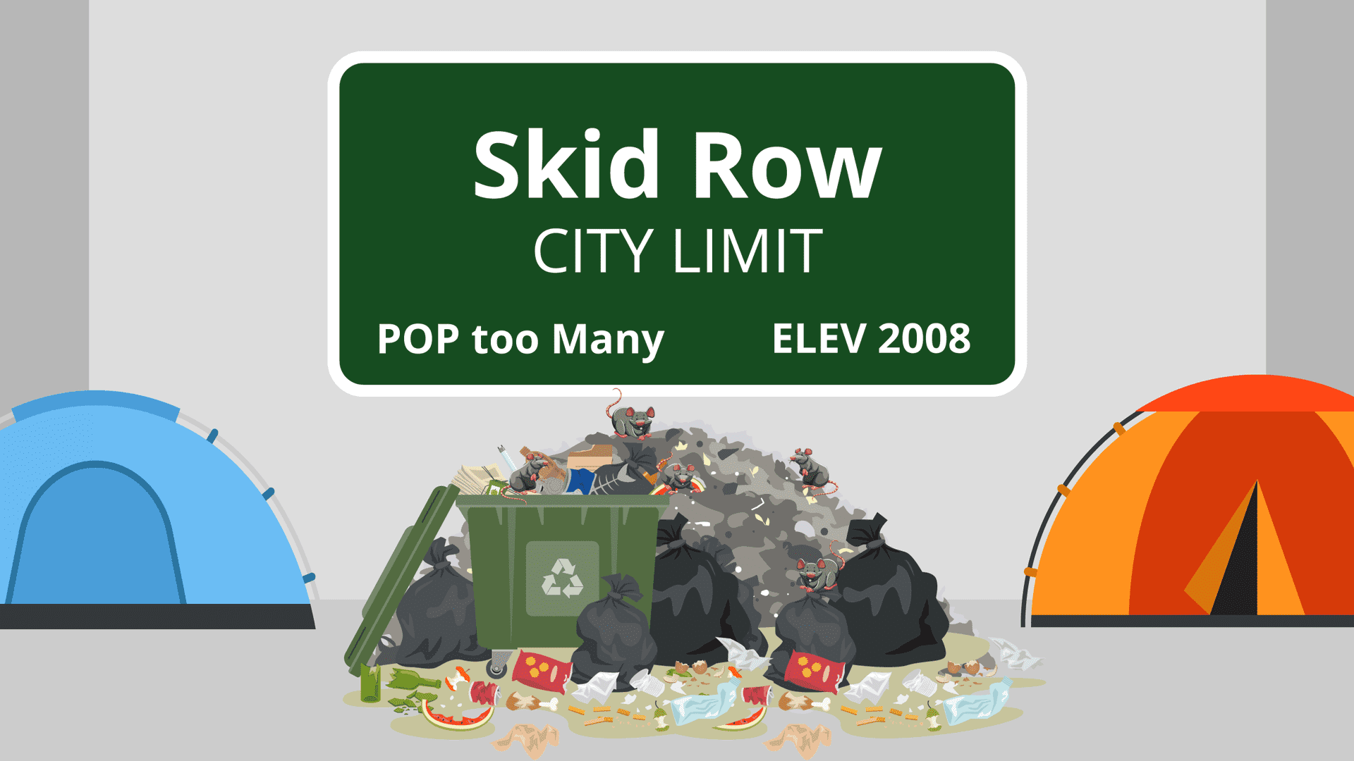 Illustration of trash and rats at Skid Row in Los Angeles, CA.