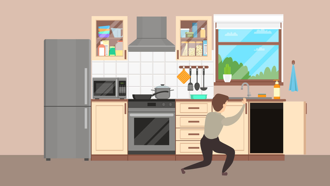 Graphic illustration featuring Lloyd Pest Control technicians performing inspection in kitchen.