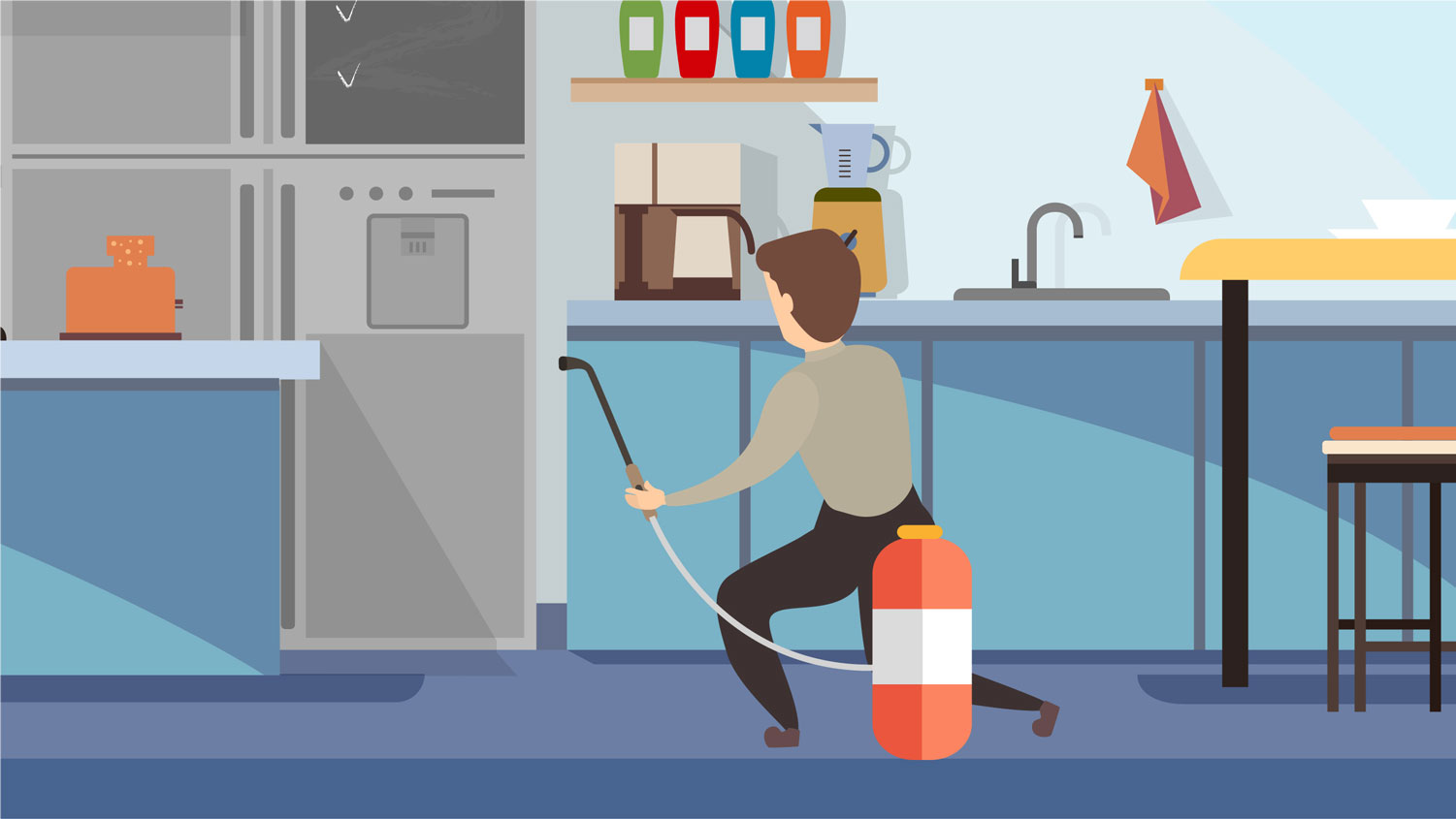Graphic illustration featuring Lloyd Pest Control technician applying pest control treatments in home.