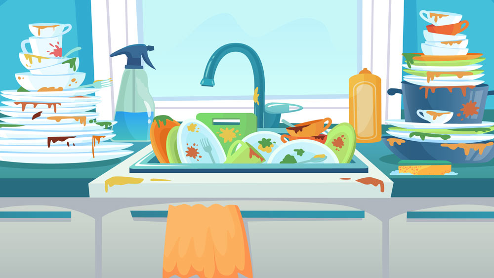 Illustration of dirty dished piled up in sink.