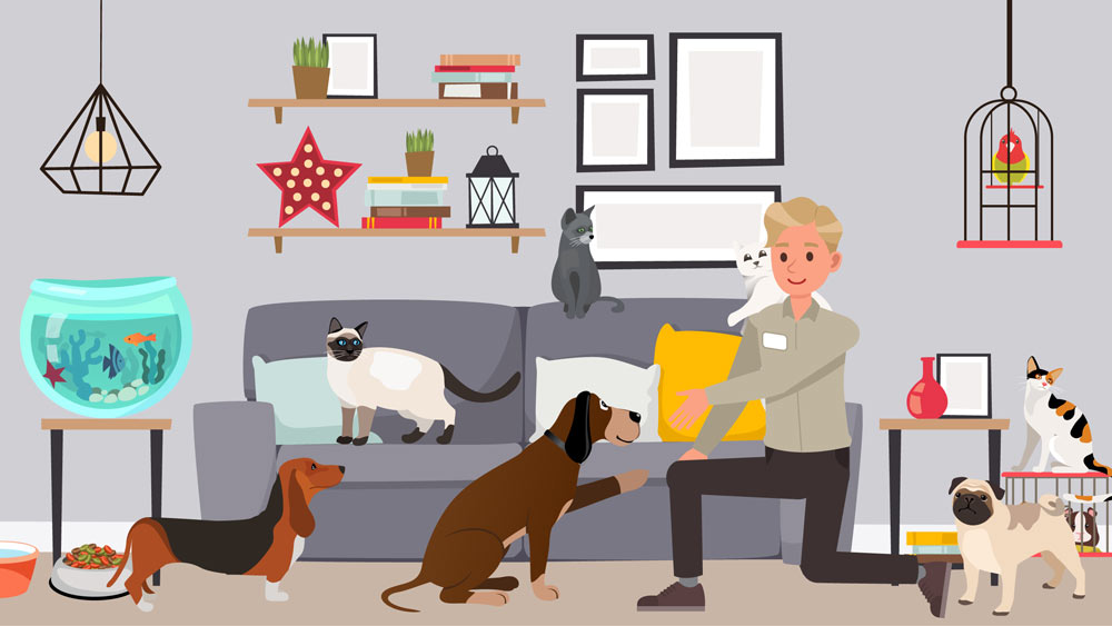 Illustration of Lloyd Pest Control technician shaking hands with a dog nearby a many other household pets.