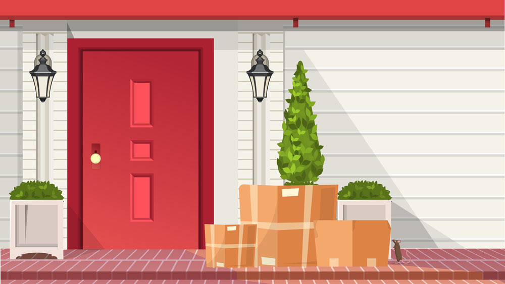Graphic illustration of packages sitting in front of door step while a mouse approaches.