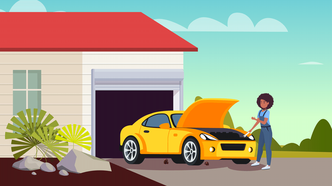 Graphic illustration featuring woman checking her outdoor vehicle for pests.