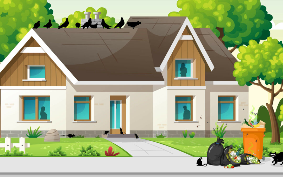 Illustration featuring pests flocking towards a residential home in SoCal due to COVID-19.