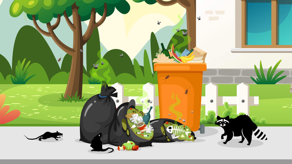 Illustration of rats, flies, roaches, and raccoons going after residential trash cans in Southern California that have been improperly sealed.